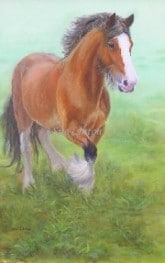 Oil portrait of a draft horse