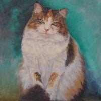 Oil portrait of a cat