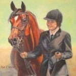 Oil portrait of a girl and her horse
