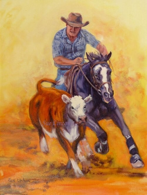 Oil painting of a campdrafting horse and rider