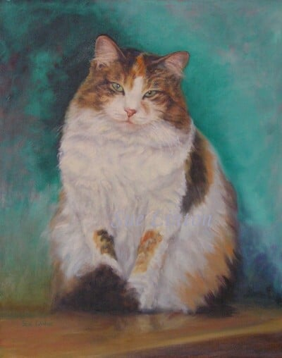 An Oil memorial portrait of a cat