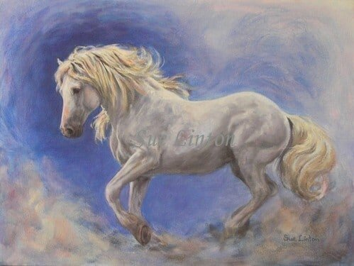A portrait of a grey stallion running