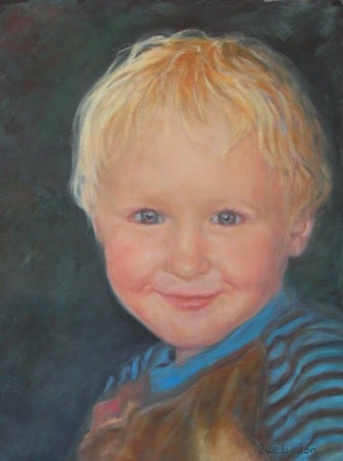 An Oil portrait of a young child
