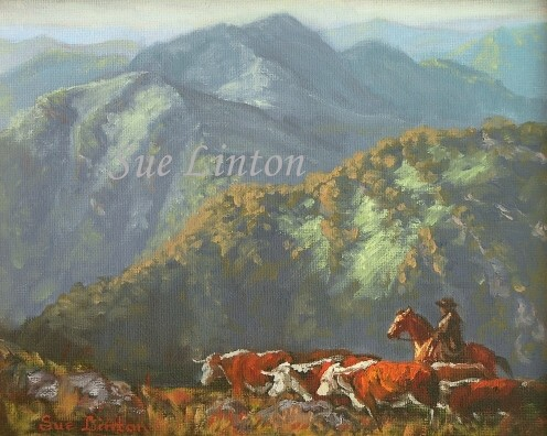An Australian landscape painting of a high country cattle muster