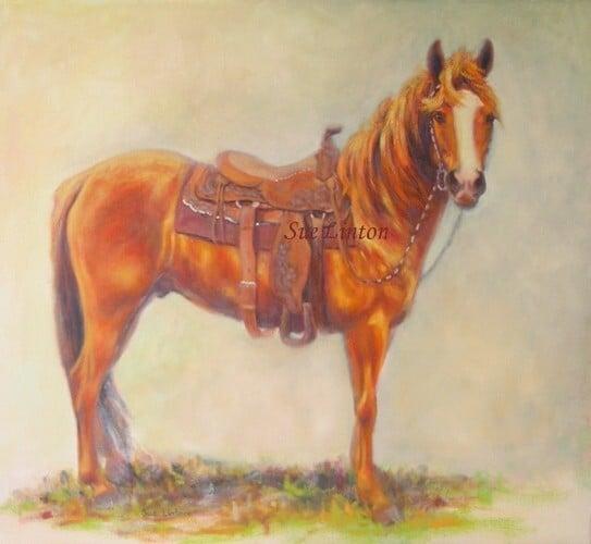 Oil portrait of a horse in western gear