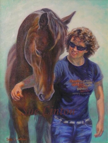 A portrait of a young girl and her horse