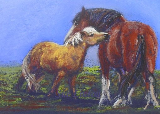 A painting of a shetland and a drafthorse scratching each other