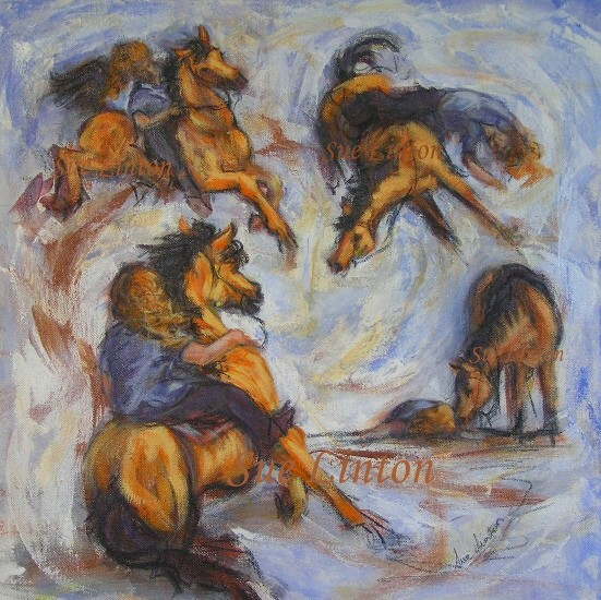 A humorous painting of horseriding