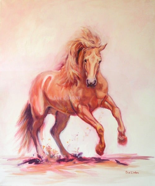 An oil painting of a galloping horse