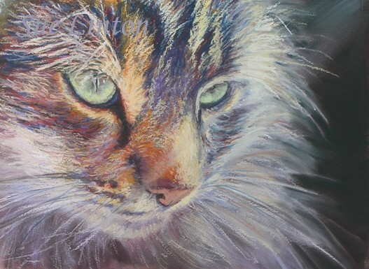 A painting of a cat lit by the sun