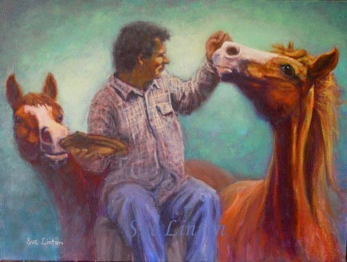 A painting of 2 horses working together to some bread