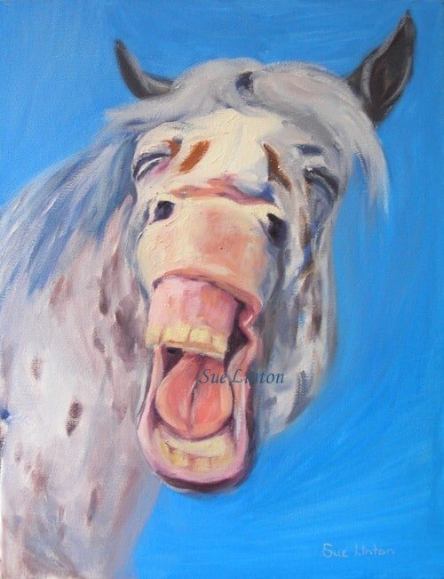 A fun painting of an appaloosa horse laughing