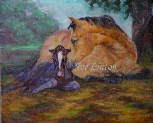 A painting of a mare and her newborn foal