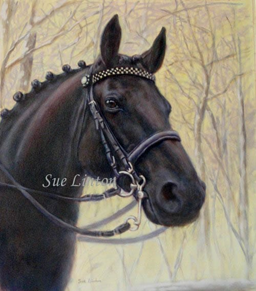 An oil portrait of a warmblood horse
