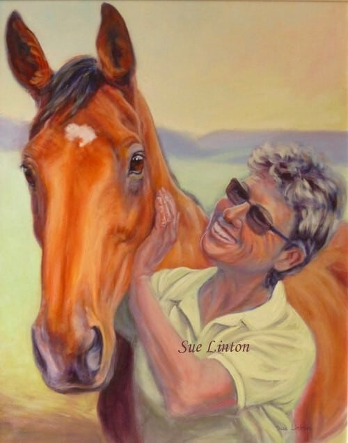 A portrait of Sue with and her horse Zeuss