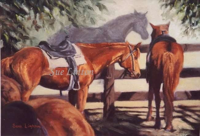 A painting of riding school horses waiting for their next ride