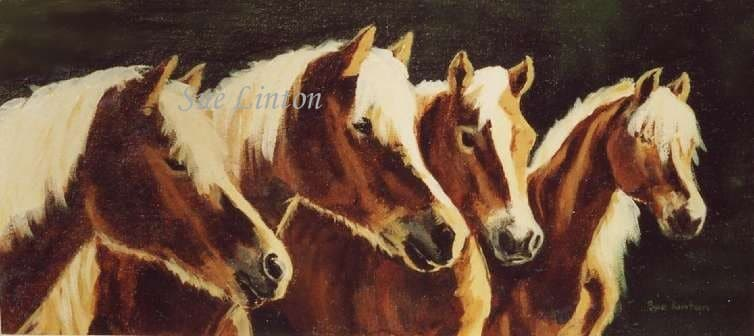 A painting of Halflinger horses waiting to be fed