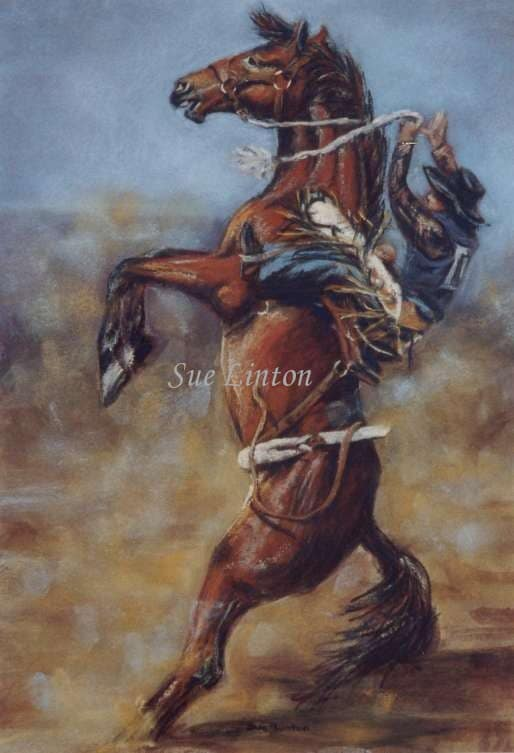 A painting of a bronc rider