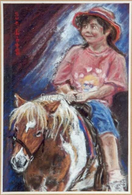 A painting of a young girl being lead on a pony