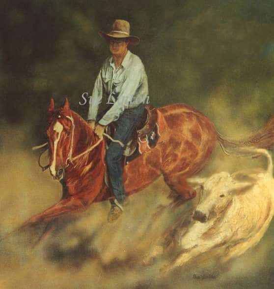 A portrait of a horse and rider cutting