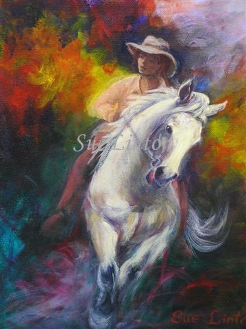 A colourful painting of a spirited horse and rider