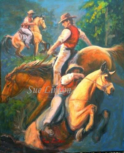 A colourful painting of stockmen and their horses inspired by the Man from Snowy River tale