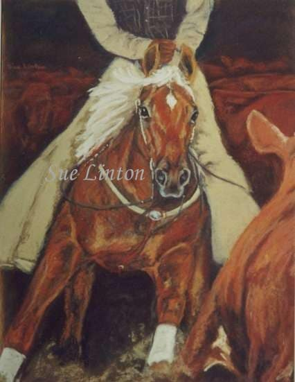A painting of a horse and rider cutting