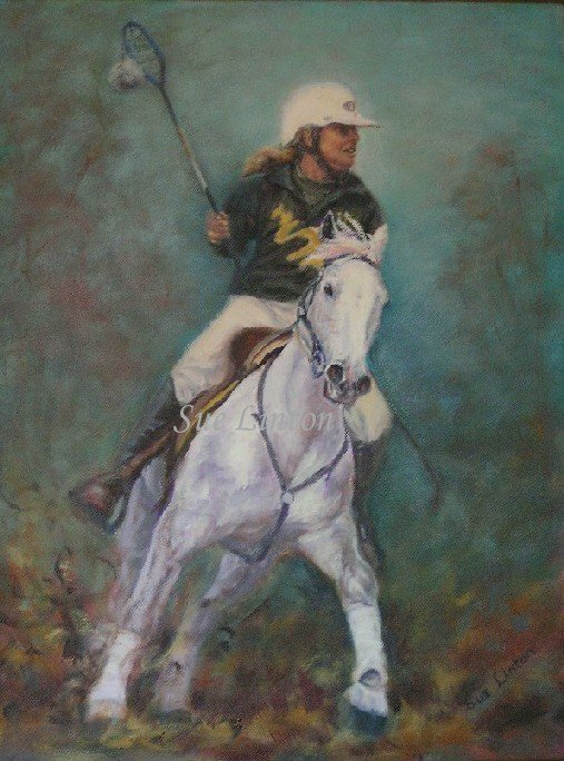 A portrait of a horse and rider playing polocrosse