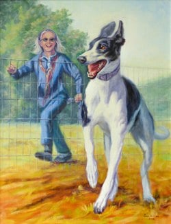 A portrait of a greyhound running with a lady
