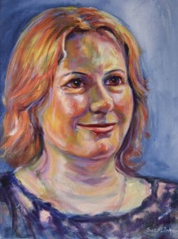 a colourful portrait of a woman