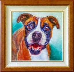 A framed realistic alive Oil portrait of a boxer
