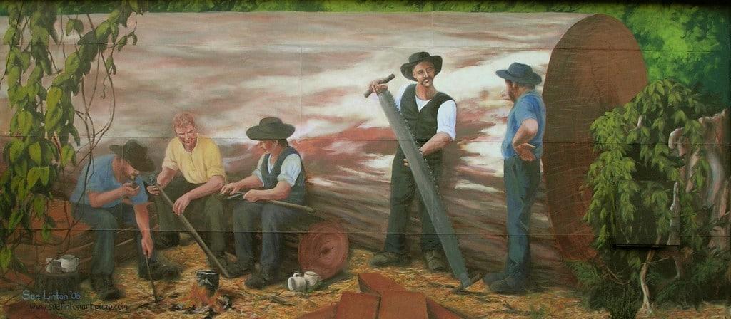 The sleeper cutters mural at Kurri