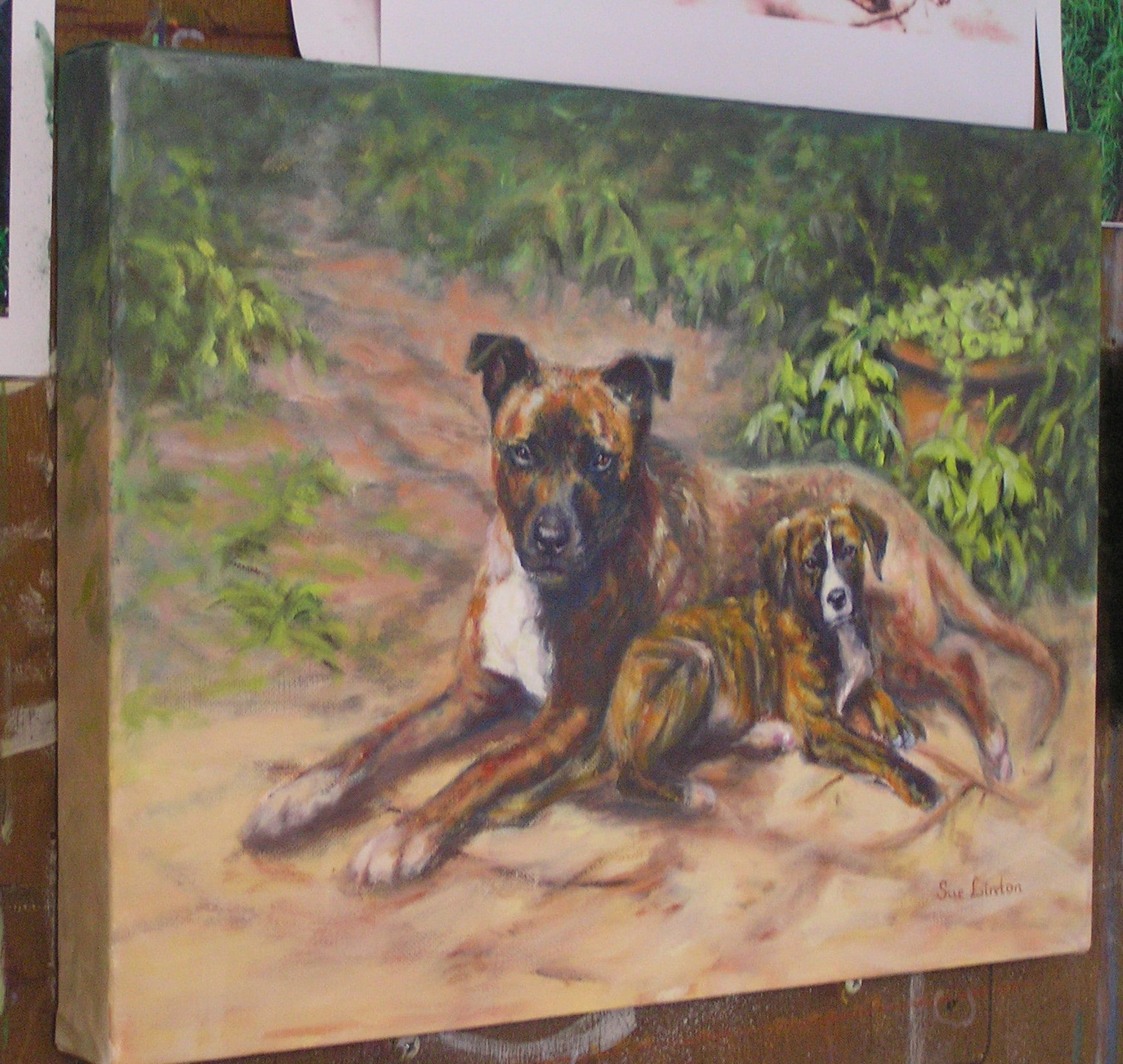 An Oil gallery wrap canvas of 2 dogs