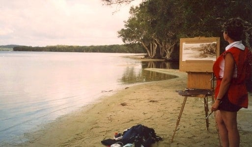 Sue painting onsite at Myall Lakes