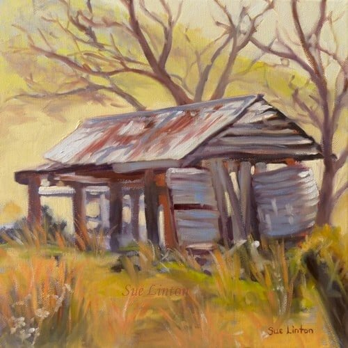 A landscape painting of a old shed and watertank