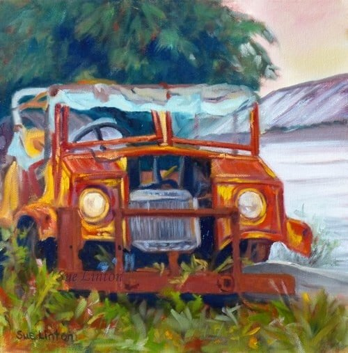 A painting of an old discarded car