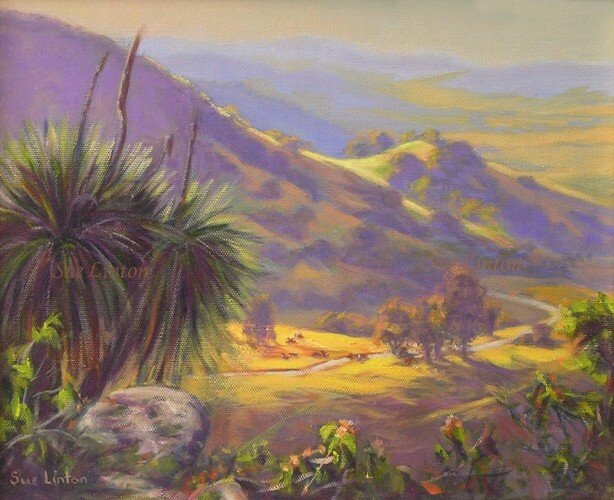 A painting of a valley view from above with grasstrees