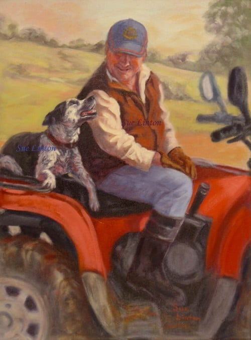 A painting of a farmer and his dog
