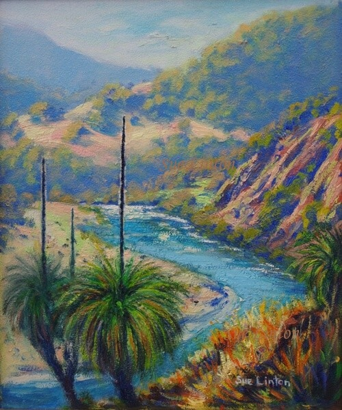 An Australian landscape painting of a steep river gorge with grasstrees