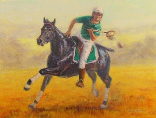 A polocrosse player