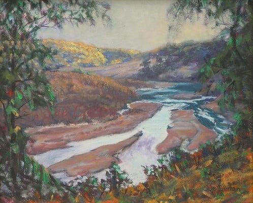 An australian  landscape painting of a river