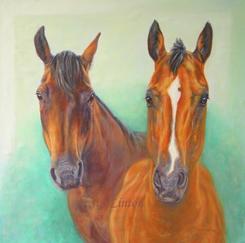 A memorial portrait of 2 horses