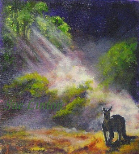 A painting of a kangaroo lit by rays of sunlight