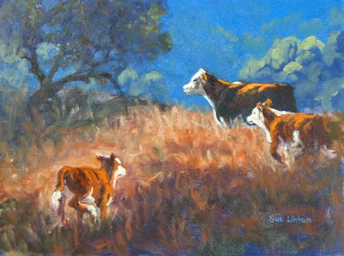 A painting of a family of cows in the early morning light
