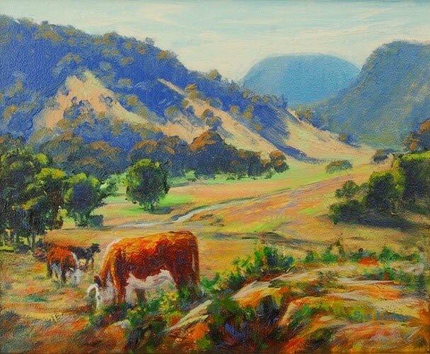 A painting of cows grazing near Kempsey NSW