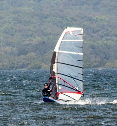 Sue sailboarding