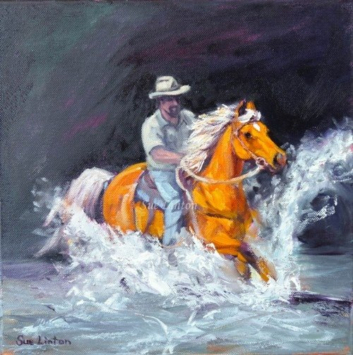 An award winning painting of a stockman cantering his horse across a creek
