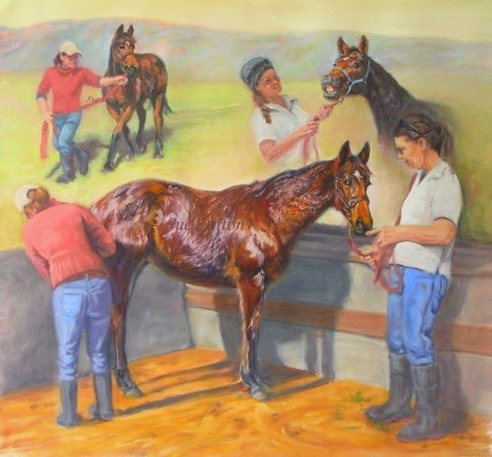 A painting of the last day at stud for a TB yearling being prepared for sale