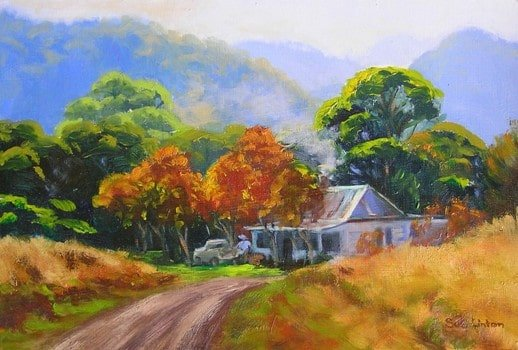 An Australian landscape painting of a house beneath some mountains