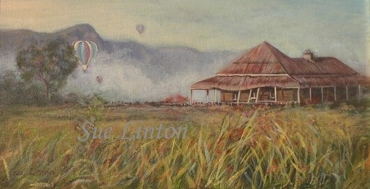 A painting of a misty morning , an old house and balloons